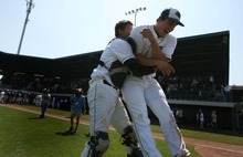 Leah Hogsten  |  The Salt Lake Tribune  Snow Canyon's pitcher Brady Sargent bear hugs pitcher Michael Jensen. Snow Canyon High School boys baseball team defeated Juan Diego during their final 3A State Championship Game 5-1 Saturday, May 19 2012 in Kearns.