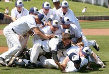Leah Hogsten  |  The Salt Lake Tribune  Snow Canyon's coaches and players leap out of the dugout to tackle pitcher Austin Ovard after winning the game. Snow Canyon High School boys baseball team defeated Juan Diego during their final 3A State Championship Game 5-1 Saturday, May 19 2012 in Kearns.