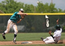 Leah Hogsten  |  The Salt Lake Tribune Juan Diego's Alex Gudac makes the out at second on  Snow Canyon's Mason Smith and throws to first for the double. Snow Canyon High School boys baseball team defeated Juan Diego during their final 3A State Championship Game 5-1 Saturday, May 19 2012 in Kearns.