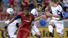 Jeremy Harmon     The Salt Lake Tribune  RSL's Chris Schuler tries to keep the ball away from New England defenders as Real Salt Lake hosts the Revolution Monday, July 4, 2011.