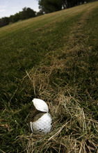 Francisco Kjolseth  |  The Salt Lake Tribune A golf ball chopped by a mower sits on a fairway of the Jordan River Par-3 Golf Course in Rose Park. The course is under consideration to close as the Salt Lake City Council holds its annual budget deliberations.