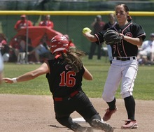 Paul Fraughton / Salt Lake Tribune Bear River's  Erin Fox is out at second as Spanish Forks Keli Hales throws to first.   Monday, May 21, 2012