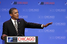 President Barack Obama speaks at a news conference at the NATO Summit in Chicago, Monday, May 21, 2012. (AP Photo/Kiichiro Sato)