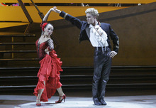 Sabra Johnson, left, and Neil Haskell perform a Paso Doble choreographed by Tony Meredith on