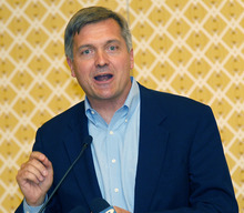 Al Hartmann  |  The Salt Lake Tribune Congressman Jim Matheson, who is running for Utah's new 4th District seat, said the U.S. tax code needs to be overhauled and the top corporate rates should be lowered. He spokes at the annual Utah Taxpayers Association Conference at Little America Hotel on Tuesday.