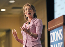 Al Hartmann  |  The Salt Lake Tribune Carly Fiorina, former Chairman and CEO, Hewlett-Packard speaks at Zions Bank annual Trade and Business Conference in Salt Lake City Wednesday May 23.