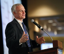 Al Hartmann  |  The Salt Lake Tribune David Neeleman, founder of JetBlue and Azul speaks at Zions Bank annual Trade and Business Conference in Salt Lake City Wednesday May 23.