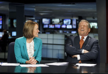 Trent Nelson  |  The Salt Lake Tribune KSL news anchor Bruce Lindsay is retiring after a three-decade career. He hosted the evening newscast with co-anchor Nadine Wimmer, left, Wednesday, May 23, 2012 in Salt Lake City, Utah.