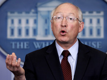 FILE - This March 12, 2012, file photo shows Interior Secretary Ken Salazar at the daily news briefing at the White House in Washington. Salazar is scheduled to speak on