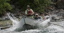 Ed Duffey of Ft. Carson Colorado, left, Old Moe Guide Service guide Rod Mangum, center, and Nick Cantrell of Ft. Carson Colorado make their way over a set of rapids as they fly-fish the Green River outside of Dutch John, Utah, Saturday, June 21, 2008 as part of Rivers of Recovery program.  The river, which meanders about 730 miles from its headwaters in the Wind River Range in Wyoming through Utah, Colorado and back into Utah, is No. 2 on the list of America's Most Endangered Rivers of 2012, according to a new report by American Rivers. The report cites proposed pipelines and a nuclear power plant that would remove huge portions of water as major threats to the river.