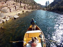 Francisco Kjolseth  |  The Salt Lake Tribune     Richard Hemingway strips his line while good friend Jeremy Christensen mans the oars of his personally hand made dory while floating the A section of the Green River in late March. The river, which meanders about 730 miles from its headwaters in the Wind River Range in Wyoming through Utah, Colorado and back into Utah, is No. 2 on the list of America's Most Endangered Rivers of 2012, according to a new report by American Rivers. The report cites proposed pipelines and a nuclear power plant that would remove huge portions of water as major threats to the river.