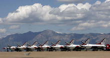 Francisco Kjolseth  |  The Salt Lake Tribune The Thunderbird fleet is prepared for the weekends air show at Hill Air Force base on Thursday, May 24, 2012.