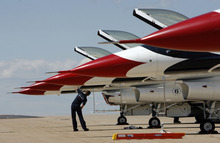 Francisco Kjolseth  |  The Salt Lake Tribune The Thunderbird fleet is cleaned up before the weekend's open house and air show at Hill Air Force Base.