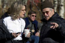 Director Lawrence Kasdan (right) confers with Diane Keaton on the Utah set of