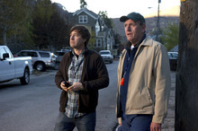 Bryan (Mark Duplass, left) and Russell (Richard Jenkins) search for a missing dog in the comedy-drama