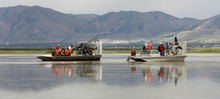 Trent Nelson  |  The Salt Lake Tribune Utah's Water Quality Board took a tour of the Bear River Migratory Bird Refuge Wednesday -- part of a deep look at the impact of treated wastewater flowing into the bay.