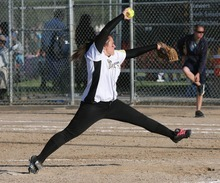 Paul Fraughton / Salt Lake Tribune Roy High School's Jamie Aiken  pitches  her team into  a state 4A championship against Salem Hills High School.   Thursday, May 24, 2012