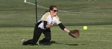 Paul Fraughton / Salt Lake Tribune Roy's Brooke Hill makes a diving catch in the outfield to make the final out giving Roy High the 4A championship.   Thursday, May 24, 2012
