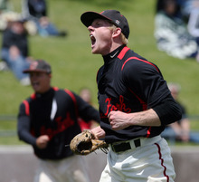 Steve Griffin/The Salt Lake Tribune    American Fork  pitcher Blake Brailsford screams with excitement after defeating Alta in 5A playoff game at Kearns High School in Kearns, Utah Thursday May 24, 2012.