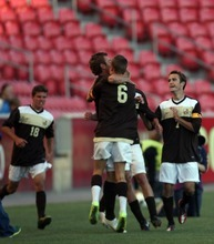 Kim Raff | The Salt Lake Tribune Davis players celebrate scoring a goal on Brighton during the 5A State Championship game at Rio Tinto Stadium in Sandy, Utah on May 24, 2012. Davis went on to win 1-0.