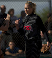 Trent Nelson  |  The Salt Lake Tribune Weber pitcher McKenna Bull pumps her fist during the state championship game against Copper Hills on Thursday.