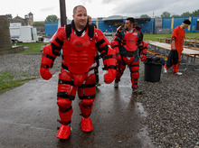 Trent Nelson  |  The Salt Lake Tribune Weber State students Adam Strader and Joe Fonnesbeck wearing protective suits for a training scenario where they portrayed rioting inmates at the Mock Prison Riot, Wednesday, May 9, 2012 at the West Virginia Penitentiary in Moundsville, West Virginia.