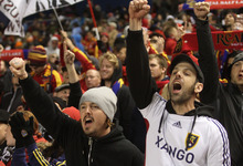 Rick Egan  | The Salt Lake Tribune   Real Salt Lake fans cheer during MLS soccer action, Real Salt Lake vs FC Dallas, in Sandy, Saturday, May 26, 2012.
