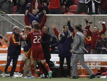 Rick Egan  | The Salt Lake Tribune   Nat Borchers celebrates with his team after scoring the game winning goal, to give Real Salt Lake a 3-2 win over FC Fallas, in MLS soccer action, Real Salt Lake vs FC Dallas, in Sandy, Saturday, May 26, 2012.