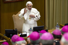 Pope Benedict XVI addresses the plenary assembly of the CEI, Italian Bishops' Conference, at the Vatican, Thursday, May 24, 2012. (AP Photo/Andrew Medichini)