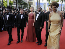 From left, actors David Oyelowo, Zac Efron, Nicole Kidman, director Lee Daniels, and actors John Cusack and Macy Gray arrive for the screening of The Paperboy at the 65th international film festival, in Cannes, southern France, Thursday, May 24, 2012. (AP Photo/Francois Mori)