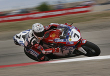 Scott Sommerdorf  |  The Salt Lake Tribune              Carlos Checa coming out of the Knockout turn on his way to winning FIM Superbike World Championship Race One, Monday, May 28, 2012.