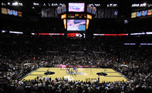 The San Antonio Spurs and the Oklahoma City Thunder tip off during the first quarter at Game 1 of their NBA basketball Western Conference finals playoff series on Sunday, May 27, 2012, in San Antonio. (AP Photo/Darren Abate)