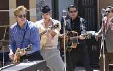 Paul Fraughton | Salt Lake Tribune Lee Ferris as Carl Perkins, Cody Slaughter, singing the role of Elvis Presley and Derek Keeling as Johnny Cash joined fellow