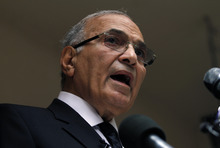 Egyptian presidential candidate Ahmed Shafiq speaks to the media during a press conference at his office in Cairo, Egypt, Saturday, May 26, 2012. Egyptian presidential candidate Ahmed Shafiq paid tribute Saturday to the