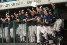 Chris Detrick  |  The Salt Lake Tribune Members of the Timpanogos baseball team cheer after Timpanogos' Johnny Peterson (23) hit a three-run RBI during the 4A championship game at Kearns High School Friday May 25, 2012.