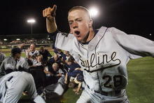 Chris Detrick  |  The Salt Lake Tribune Skyline's Lars Lofgren (28) celebrates after winning the 4A championship game at Kearns High School Friday May 25, 2012.  Skyline defeated Timpanogos 8-7 in ten innings.