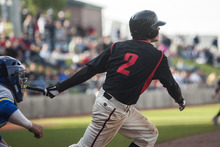 Chris Detrick  |  The Salt Lake Tribune American Fork's Riley Ottesen hits the game winning RBI during the 5A championship game at Kearns High School. American Fork won the game 5-4.