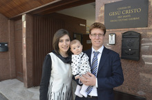 Lifelong Mormons Daniele and Norma Salerno with their baby, Emma, outside the Rome LDS Second Ward. Courtesy Mike Stack