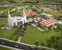 Rendering of the LDS temple in Rome, with its accompanying buildings -- an LDS stake center, visitor center and housing for temple patrons Courtesy LDS Church