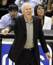 San Antonio Spurs head coach Gregg Popovich calls a play against the Oklahoma City Thunder during the second half of Game 1 in their NBA basketball Western Conference finals playoff series, Sunday, May 27, 2012, in San Antonio. (AP Photo/Darren Abate)