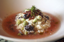 Log Haven mushroom and fresh garbanzo bean risotto. Courtesy of Log Haven