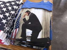This shirt depicting President Barack Obama is on sale at the Urban Outfitters in Salt Lake City. New Mitt Romney designs aren't in stock yet. (Photo by Sean P. Means  |  The Salt Lake Tribune)