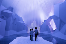 Children stand in a multimedia installation about global warming's effect on glaciers at the Green Nation Fest environmental show in Rio de Janeiro, Brazil, Thursday, May 31, 2012. In June, Rio will host the United Nations Conference on Sustainable Development. (AP Photo/Victor R. Caivano)