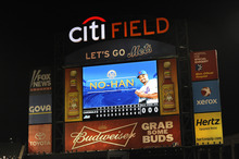 The scoreboard at Citi Field displays New York Mets starting pitcher Johan Santana after he threw a no-hitter against the St. Louis Cardinals, Friday, June 1, 2012 in New York. The Mets won 8-0. (AP Photo/Kathy Kmonicek)