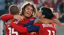 Photo by Leah Hogsten  |  The Salt Lake Tribune RSL's Alvaro Saborio celebrates the second goal of the game in the first half with teammate Javier Morales and Fabian Espindola. .  Saborio kicked the goal in off a kick from teammate Fabian Espindola.  Real Salt Lake was up 2-1against Kansas City Wizards Saturday at the half at RSL Stadium.   Sandy 5/29/10