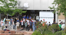 Tribune file photo Eager customers line up at the Apple store at The Gateway in Salt Lake City for the new Apple iPhone 4S in 2011. The popular electronics retailer is breaking its lease to move to City Creek.