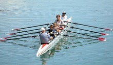 Chris Detrick  |  The Salt Lake Tribune Great Salt Lake Rowing's Joe Inman teaches the Rosa family, Michael, Eveline, Gabe, 11, and Noelle, 9, how to row during National Learn to Row Day at the Great Salt Lake Marina Saturday June 2, 2012.