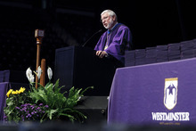 Trent Nelson  |  The Salt Lake Tribune Westminster College President Dr. Michael Bassis welcomes the crowd to Commencement Saturday, June 2, 2012 at the Maverik Center in West Valley City.