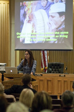 Chris Detrick  |  The Salt Lake Tribune Dr. Kim Selzman speaks during a meeting at Bountiful City Hall Thursday March 22, 2012. Residents of Davis County, North Salt Lake, and doctors from the Utah Physicians for a Healthy Environment discussed the public health impacts of proposed refinery expansions.