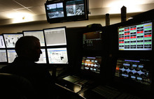 Scott Sommerdorf  |  The Salt Lake Tribune              Brent Dall, lead operator in the hydrogen area, monitors screens in the plant's main control room at HollyFrontier in Woods Cross, Thursday, April 27, 2012. The refinery is one of three in Utah that are expanding in order to process more Utah black wax crude produced in the Uinta Basin in eastern Utah.
